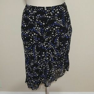 Black and blue circle print skirt